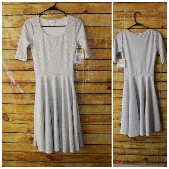 LuLaRoe Dresses & Skirts - Lularoe NICOLE Pastel Leaf Look Dress
